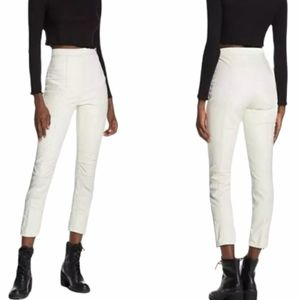 Free People Kaelin Moto Vegan Leather Skinny Pants White